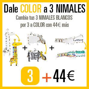 Cambia tus 3 NIMALES BLANCOS por 3 a COLOR por 44€ más.