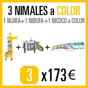 Consigue los 3 NIMALES (1 NIJIRA + 1 NIBUFA + 1 NICOCO) a COLOR por 173€.
