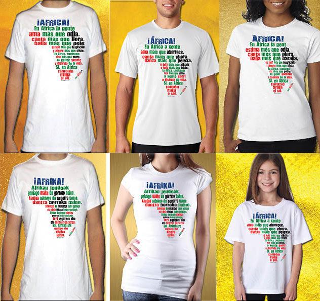 Camisetas con el mensaje oficial de la entidad benéfica SOS ÁFRICA por el que se anima  a ver África en positivo y con optimismo.