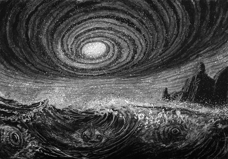 Un destino aciago se cierne desde el océano sobre Bahía Espinosa. Ilustración de Daniel Puerta.