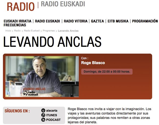 """The Journey"" en Levando Anclas de Roge Blasco en Radio Euskadi."