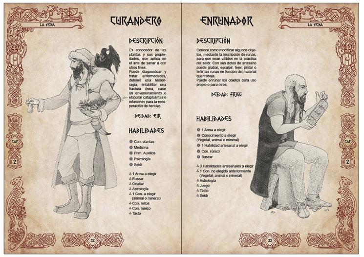 Ejempo de dos personajes en el capítulo 2 sobre la creación de la ficha.