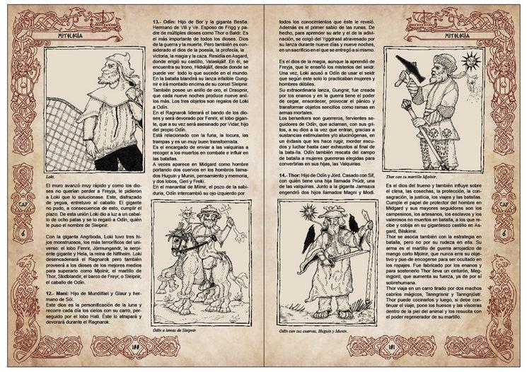 Pliego sobre los dioses Aesir incluido en el capítulo 6 que trata la mitología.