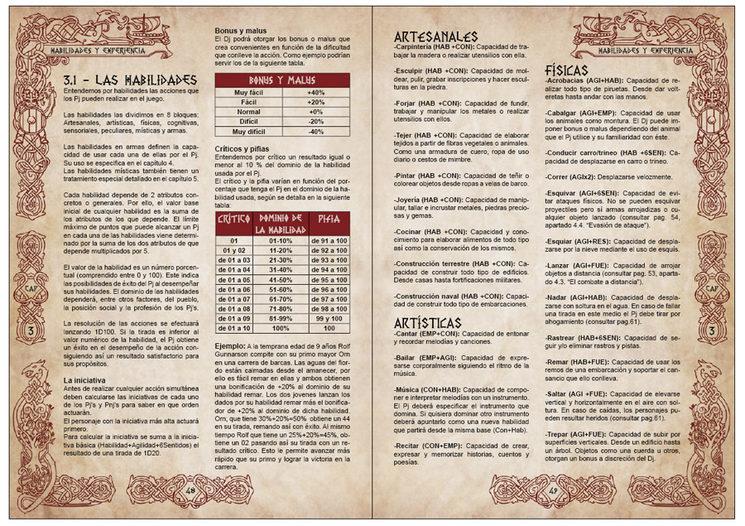Muestra del capítulo 3 sobre las habilidades y la experiencia en el juego.