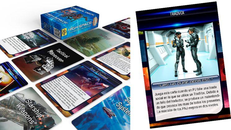 Ejemplo de carta de aventura y cartas tácticas (en inglés). El diseño puede variar
