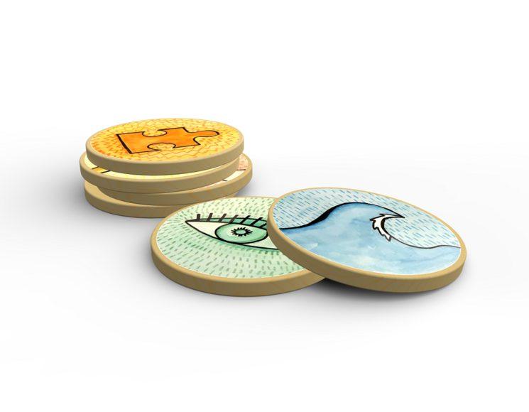 Los valores, representados en fichas de madera. Honestidad, valor, voluntad, coherencia y atención.