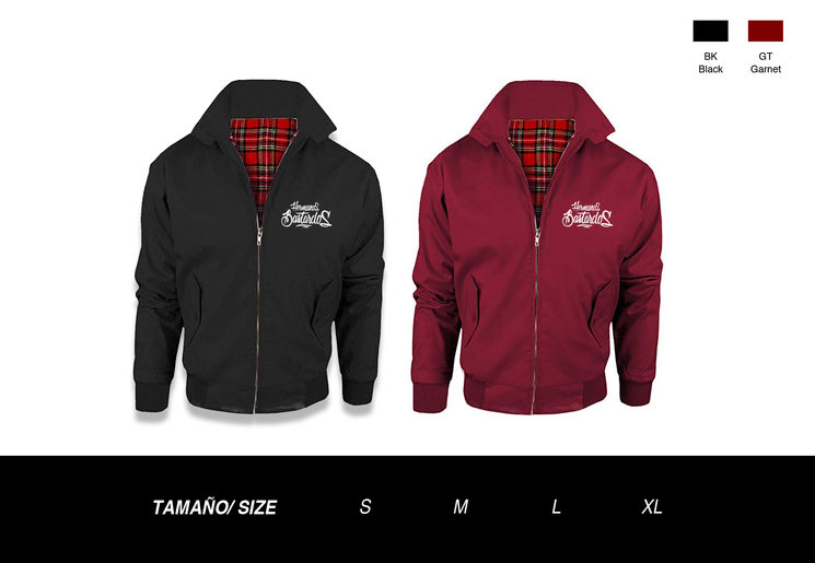 Harrington disponible en S, M, L y XL en colores negro y granate