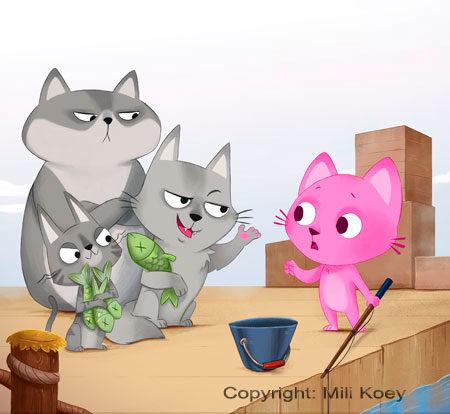 Los gatos grises le quitan el pescado