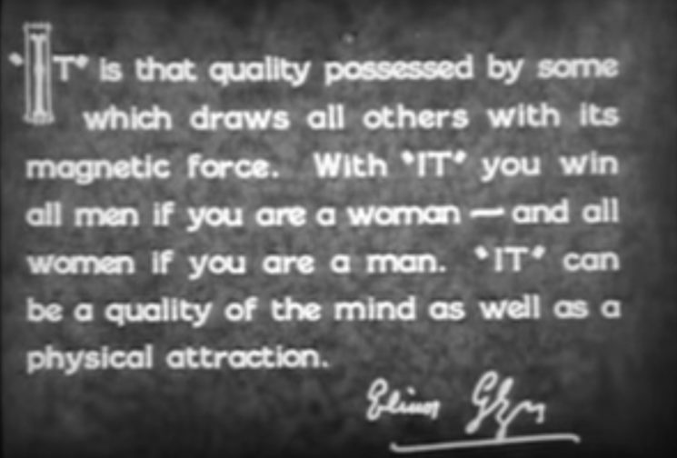 """Fotograma película """"It"""" (1927) donde se define el concepto de """"it"""""""