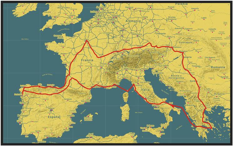 Ruta final de La Vuelta a Europa en trike. 11 países y 9000 kilómetros.