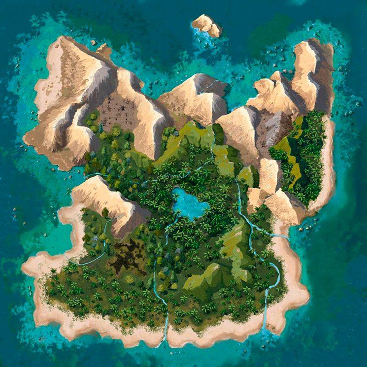 Mapa de la Isla (puede cambiar levemente respecto a la edición definitiva)