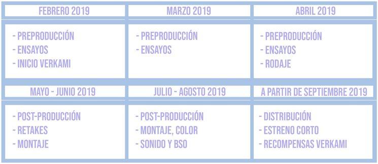 calendario aproximado del cortometraje