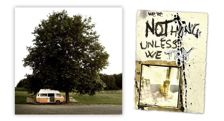 La vieja furgoneta ALMA en sus primeros días de viaje en 2008 y el autor haciendo de las suyas.