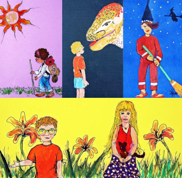 Algunas de las ilustraciones de Susita y la cueva de los Dinosaurios