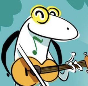 A la Granota nota li agrada tocar la guitarra!!