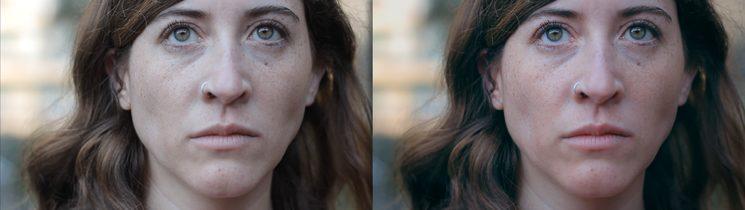 Ejemplo de antes y después de la corrección de color.