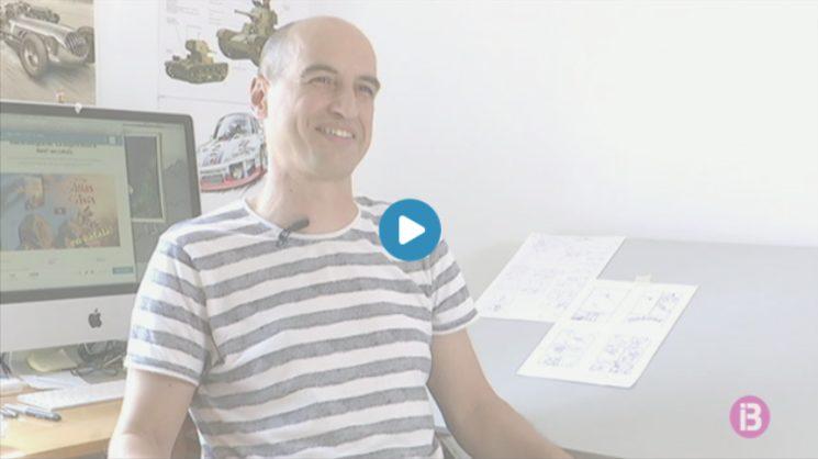 En Pau al seu estudi explicant el projecte.