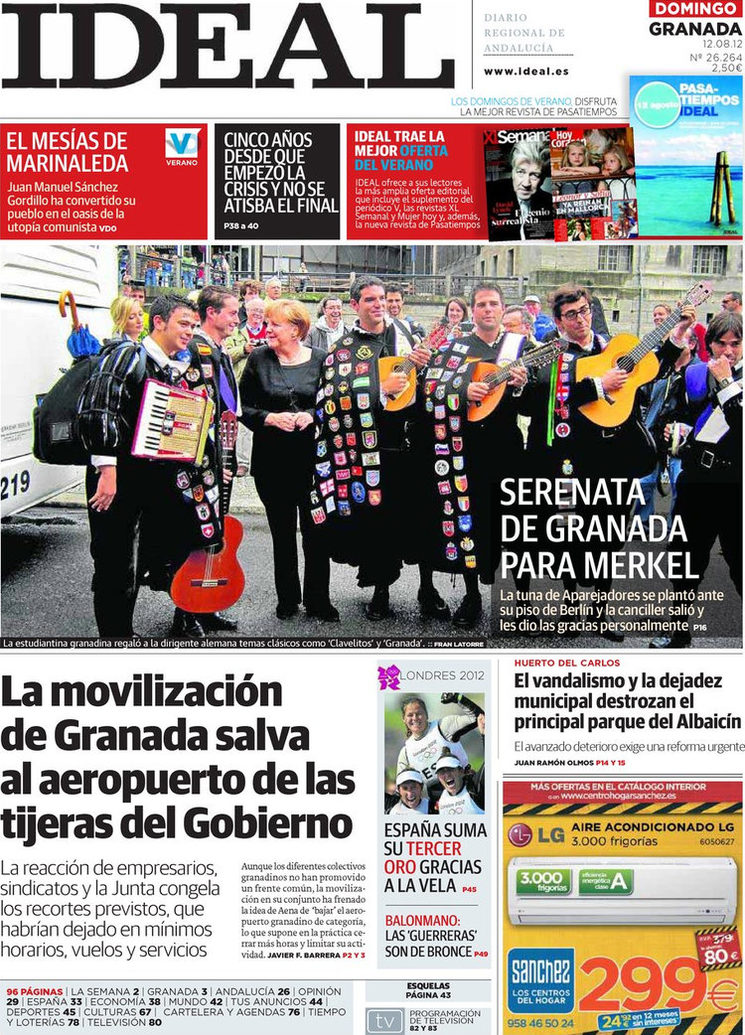Portada del periódico Ideal de Granada del 12-8-12.