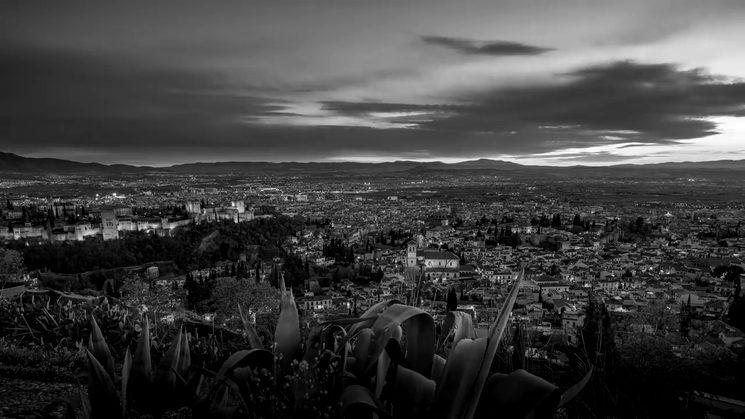 Views of the Alhambra in Granada from el Cerro de San Miguel (San Miguel Hill).
