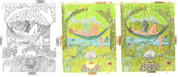 Proceso de montaje de las planchas de color sobre los originales de 1973, abajo la página doble final