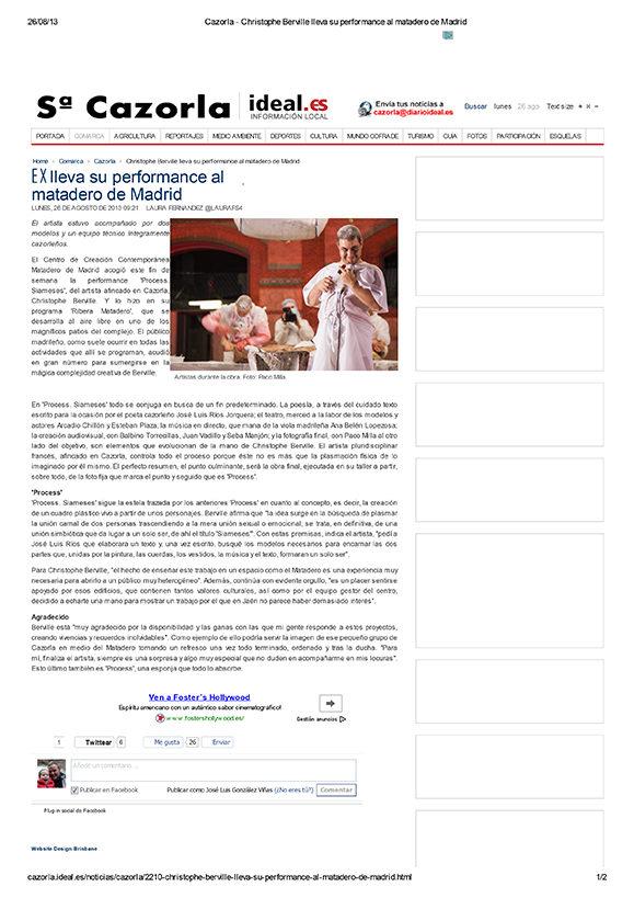 Prensa relacionada con ¬ Siameses en el Matadero de Madrid