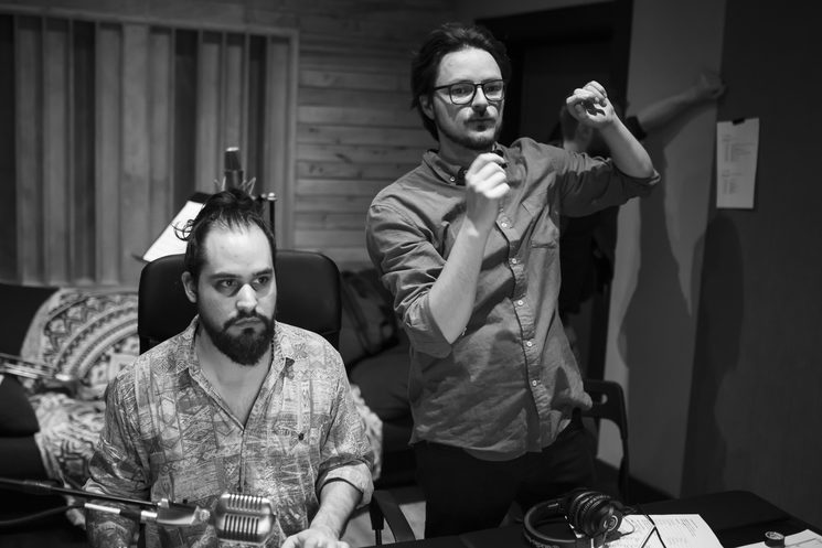 Sebastian Laverde (Recording Engineer) & Ricardo Osorno (Producer) - Jazztone Studios Valencia, Spain. P.C. Tato Baeza