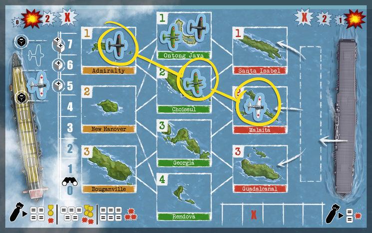 Hay una línea de conexión entre Admiralty, Choiseul y Malaita. ¡El USS Yorktown sufre un ataque!