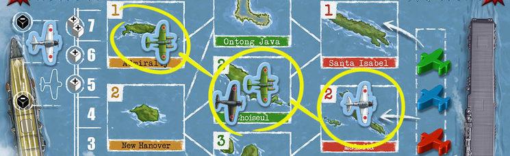 Línea de visión montada. El USS Yorktown está visible y es atacado