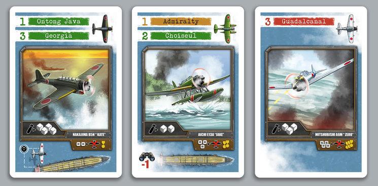 Las cartas de evento con los 3 tipos de aviones, las islas donde se colocarán, los dados que tiran al atacar al Yorktown y otros eventos