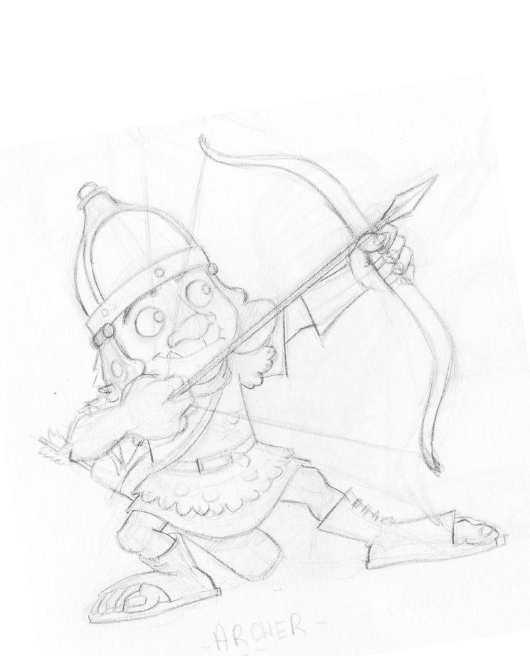 Dibujo inicial de un arquero