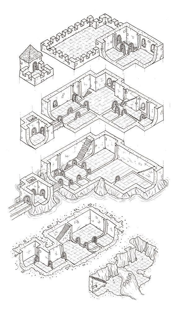 Boceto en proceso del diseño del castillo