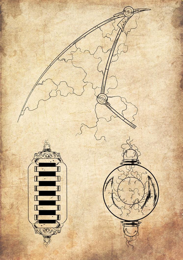 Distintas partes del Guardian Tesla,  ilustrado por Jagoba Leukona
