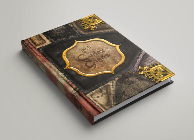 Mockup de 1800: Codex Gigas sin el libro básico de fondo. El diseño definitivo puede cambiar.