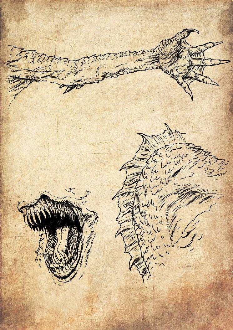 Brazo, aleta dorsal y boca del Horror Marino, ilustrados por Jagoba Leukona