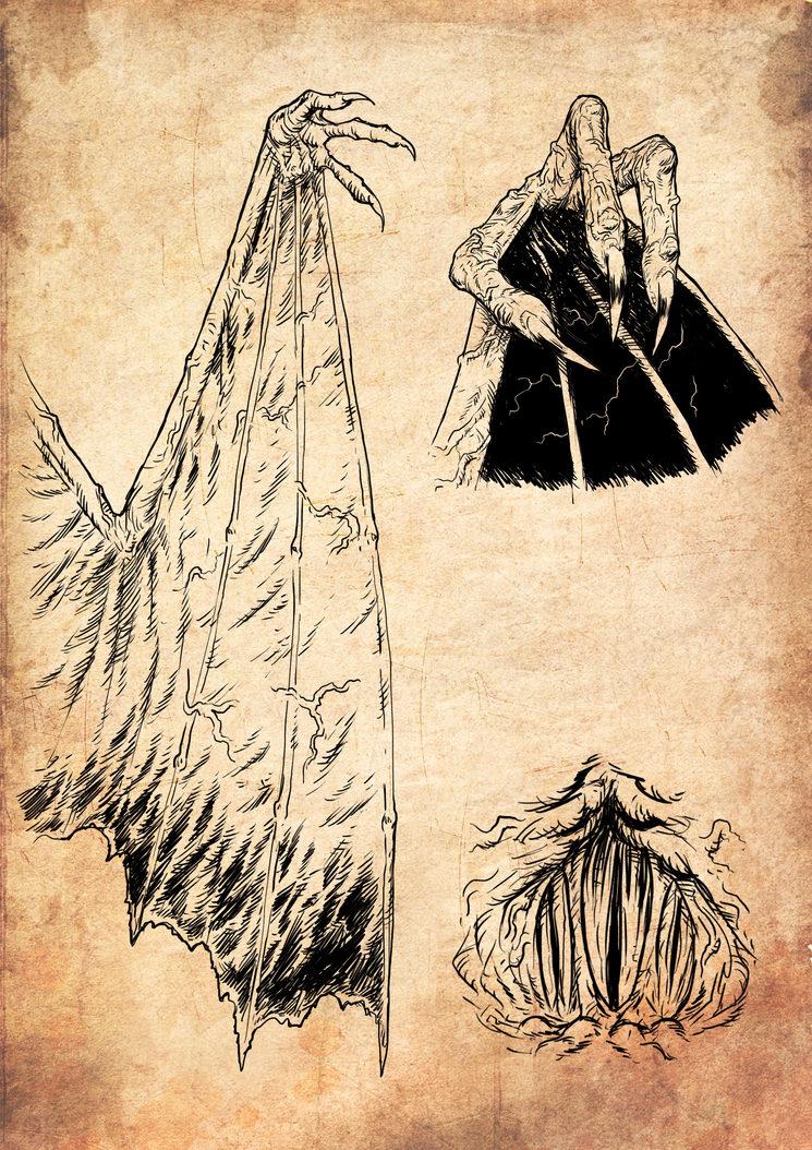 Distintas partes del Cazador Oscuro, ilustradas por Jagoba Leukona