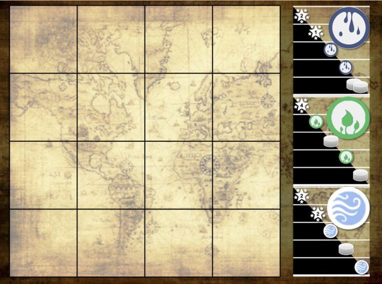 En vez de mover meeples entre las distintas cartas, introducimos un mapa para colocar las nuevas especies.
