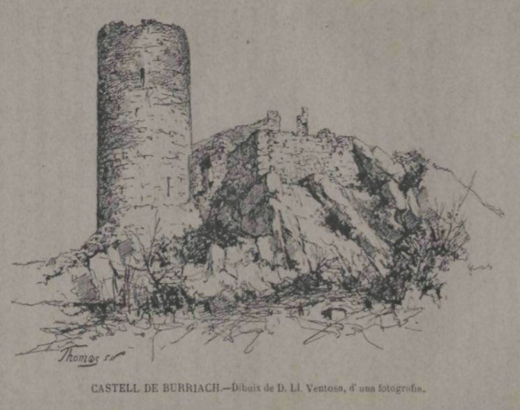 Castell de Burriac, dibuix fet a partir d'una fotografia per L. Ventosa (?) encara que en el dibuix consta una altra signatura (Thomas). Publicat a Memorias de l'Associació Catalanista Excursions Científicas 1879. Vol. 3, Barcelona: 1887.