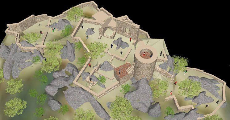 Model infogràfic 3D de les restes que avui podem contemplar del castell de Burriac després de les reformes de consolidació. La ruïna del castell medieval correspon a l'obra d'ampliació duta a terme per Pere Joan Ferrer (finals de s. XV )
