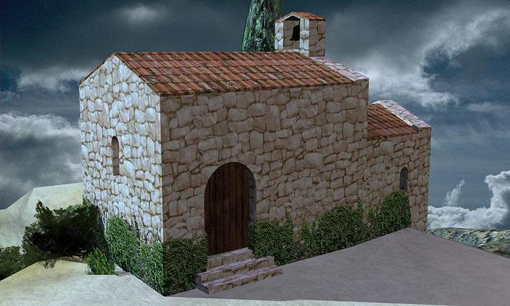 Recreació ideal de la capella preromànica de Sant Vicenç, construida al segle IX