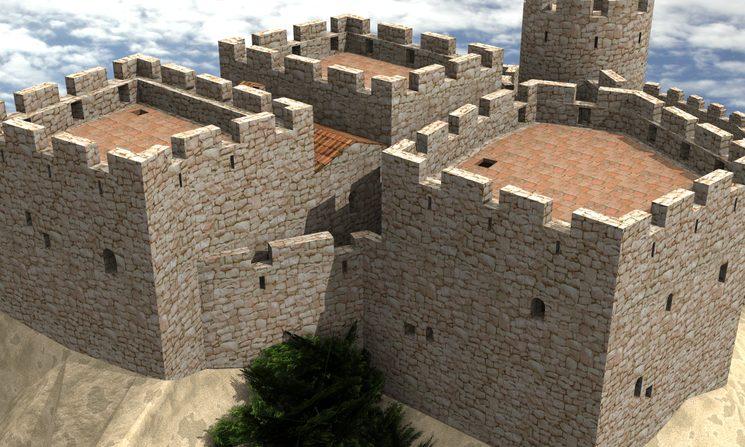 Recreació ideal 3D del recinte subirà del castell