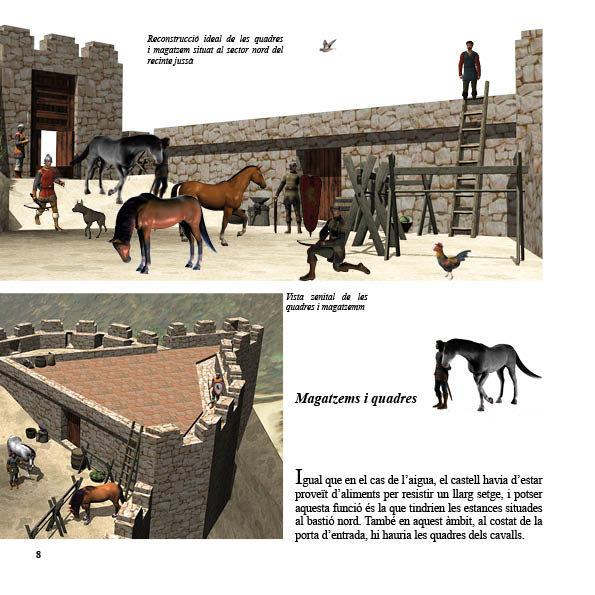 Pàgina del llibre on es veuen les quadres i magatzems del castell