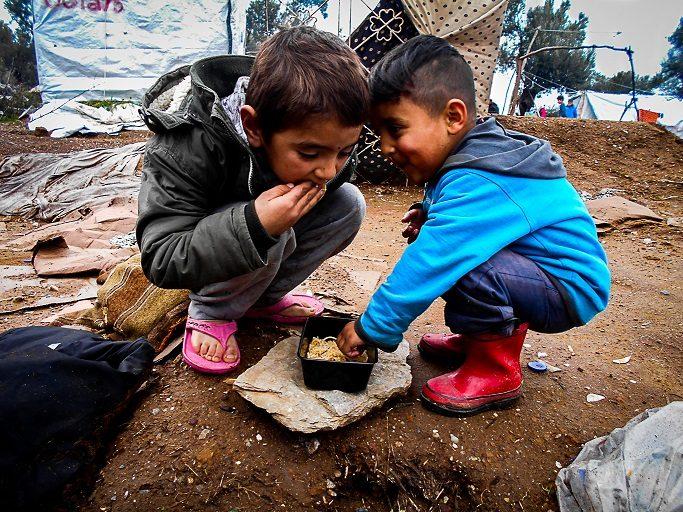Fotografía de Ali Akbar en el campo de refugiados de Moria, Lesbos