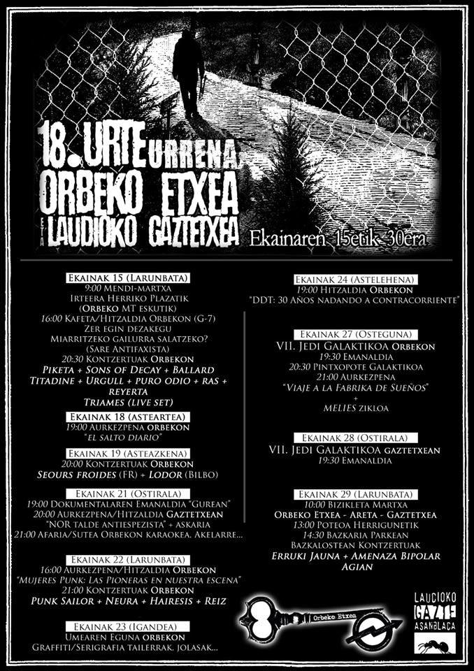 Cartel completo de actividades del 18 aniversario de la Orbeko Etxea