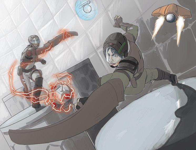 Boceto de ilutración para Savage Arena