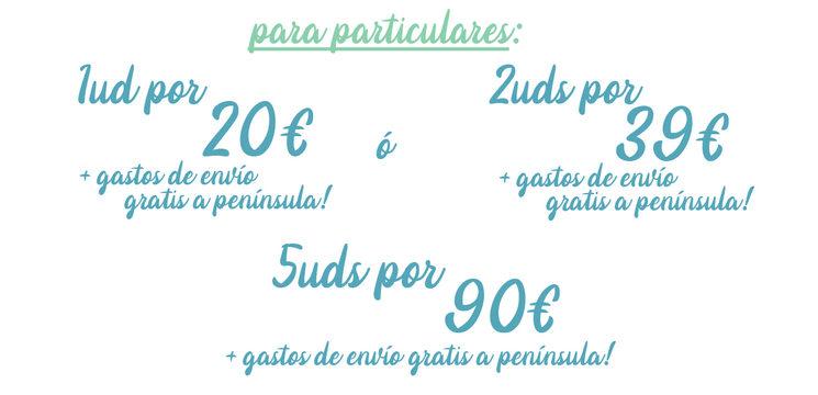 Tras la campaña: 1-2 unidades con gasto de envío NO gratuito. 5uds 100€