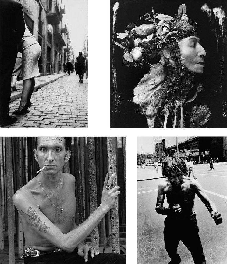 De izquierda a derecha y de arriba a abajo: Fotografías de Joan Colom,  Joel Peter Witkin,  Alberto García Alix y Miron Zownir
