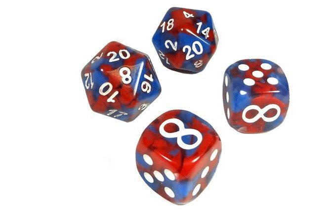 ¡Un 10 o un 20 en el d20 nos permite tirar de nuevo el dado y sumar los resultados! ¡El símbolo de infinito en el dado de bonificación de seis caras agrega +5 a tu daño y te permite tirar nuevamente!