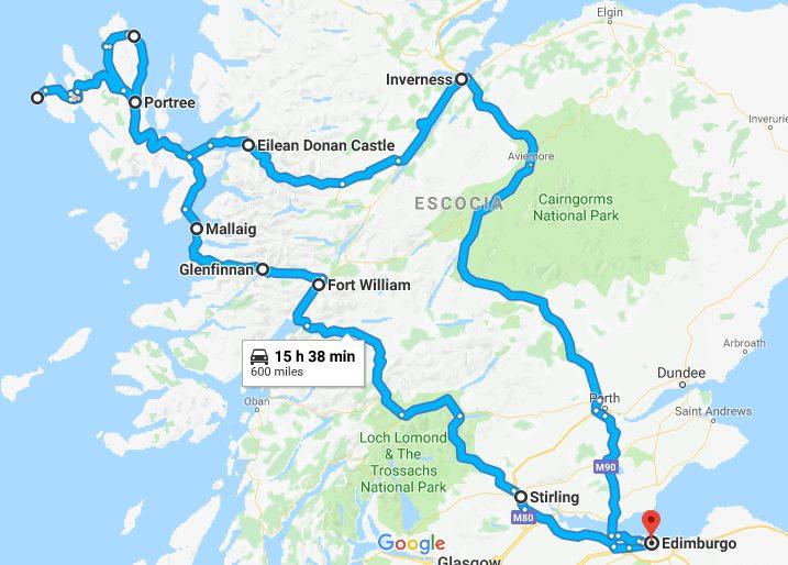 Mapa recorrido Escocia en 8 días