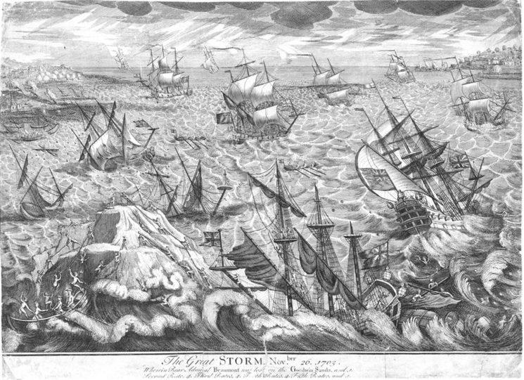 •   Este barco no participó en Gibraltar por que se estaba reparando tras una inmensa tormenta en Goodwin Sands. (Sería el barco de la derecha)