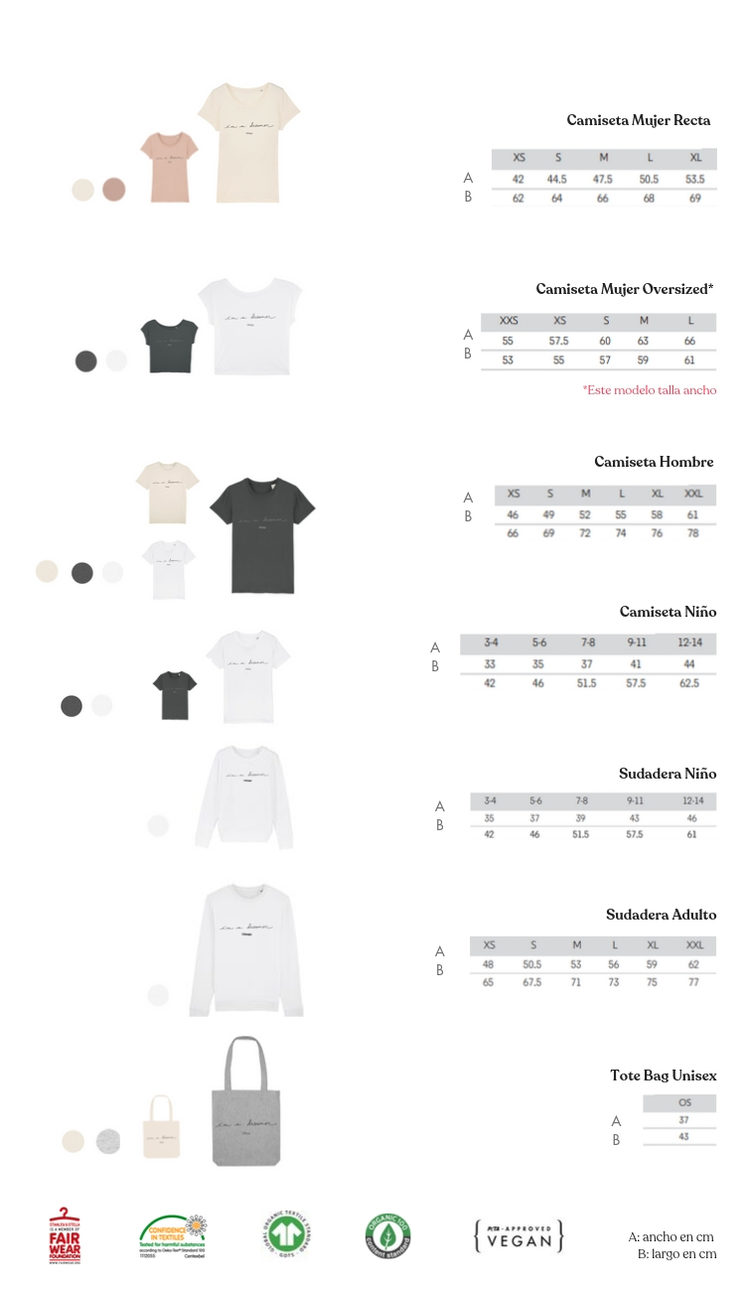 Guía de colores y tallas por modelo
